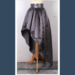 Long Steel Satin High Low Lined Skirt Sizes S-3X